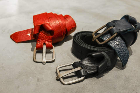 m.a+ [d buckle cross cuts wide belt]