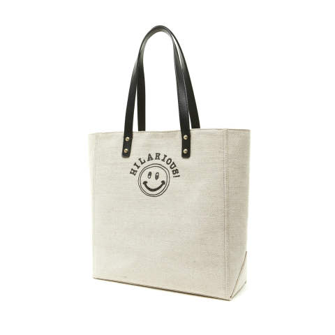 DELL'EST [LC_101_M_01 / LINEN COTTON CANVAS TOTE - SMILE -]